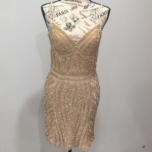 Sparkly short peach dress